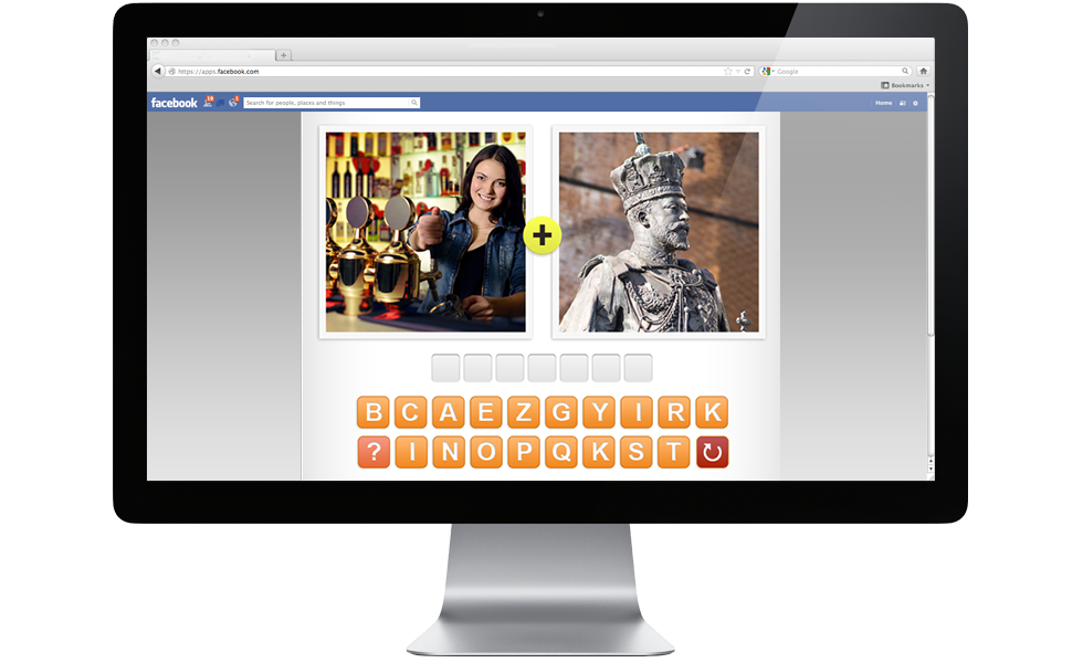 Play 4 Pics 1 Word Game on Facebook from your computer